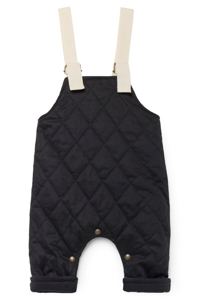 Quilted Dungarees- Black