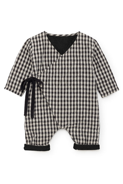 Checked quilted overall Kimono