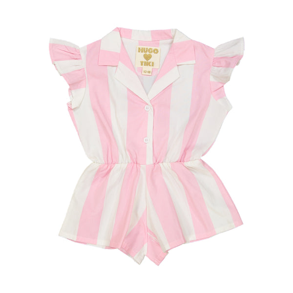 Ruffled Playsuit Pink Stripe