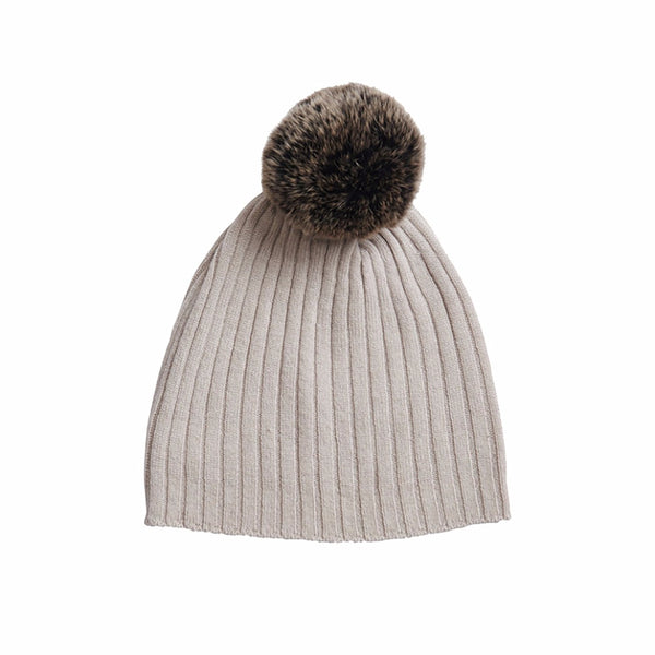 Rabbit Fur Trim Hat- Alabaster