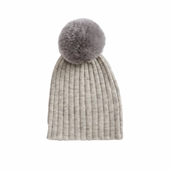 Rabbit Fur Trim Hat- Silver Grey