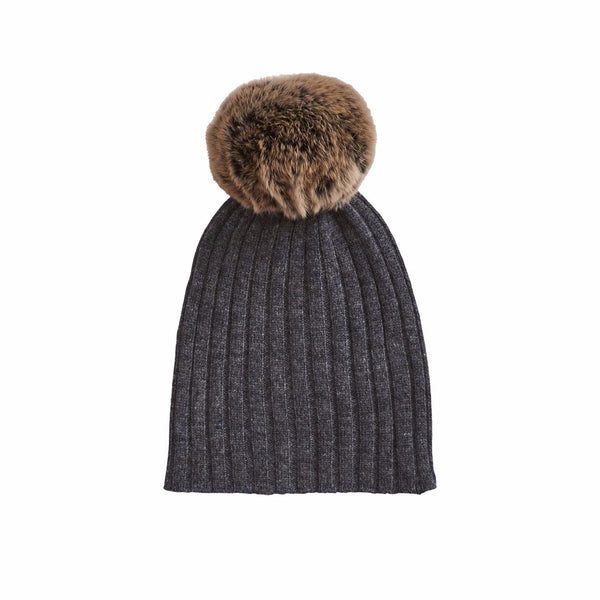 Rabbit Fur Trim Hat- Graphite