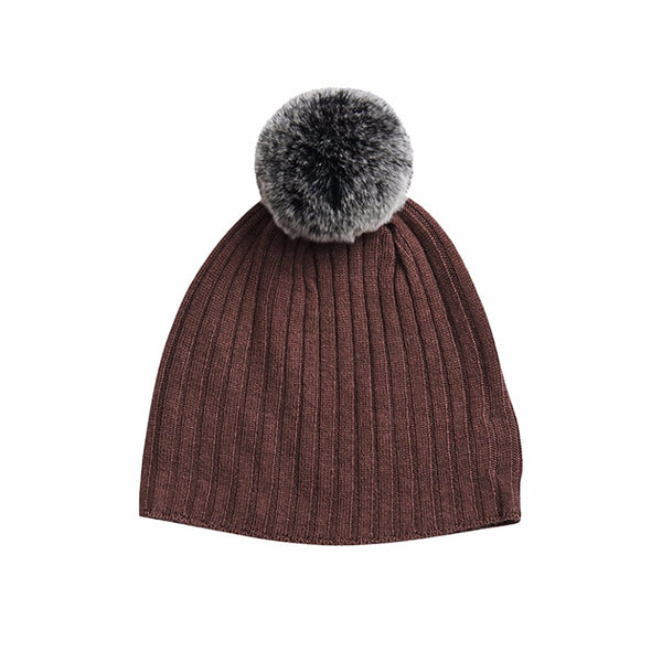 Rabbit Fur Trim Hat- Berry