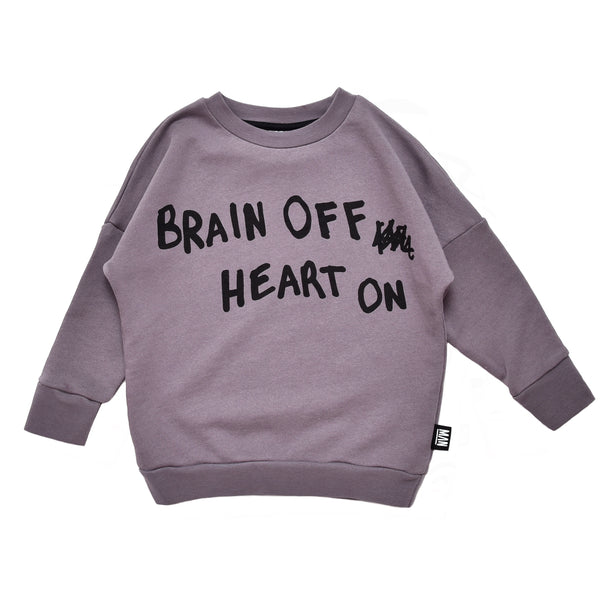 Brain off heart on sweater