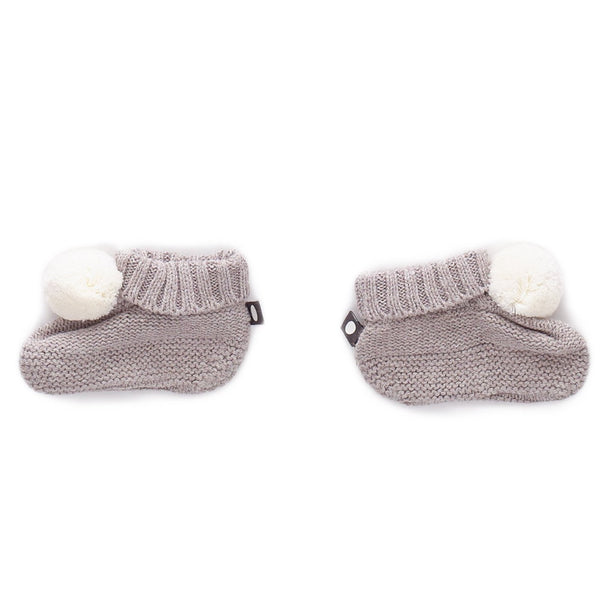 Pom pom Booties Grey