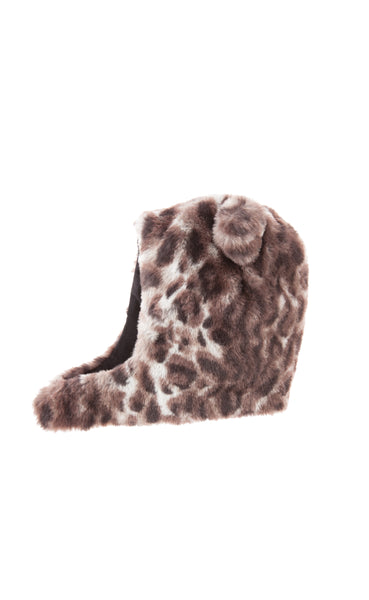 Animal print faux fur cap