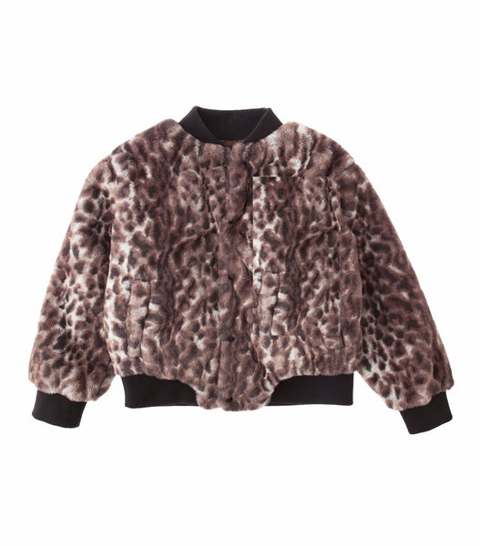 Animal print faux fur jacket