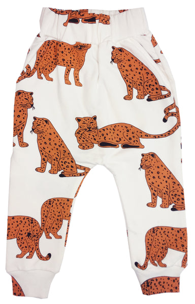 Cheetah drop crotch sweat pants