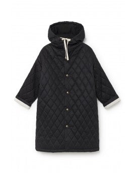 Quilted Hooded Coat- Black