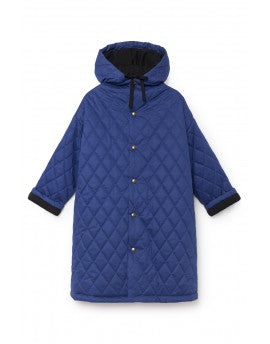 Quilted Hooded Coat- Blue
