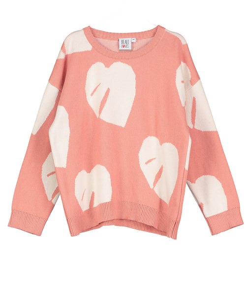 Coral Leaves Knit Jumper