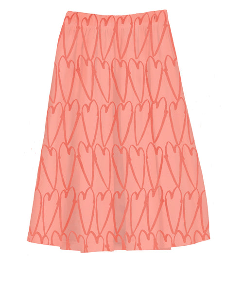 Coral Love hearts Long Length Jersey Skirt