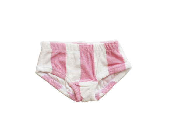 Terry Bikini Bottom Pink Stripe- swim