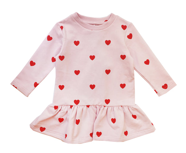 Red hearts sweater dress