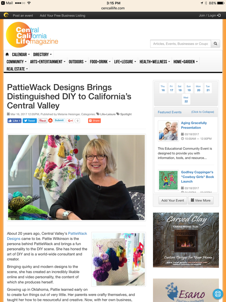 Central California Life Magazine - PattieWack Designs Feature