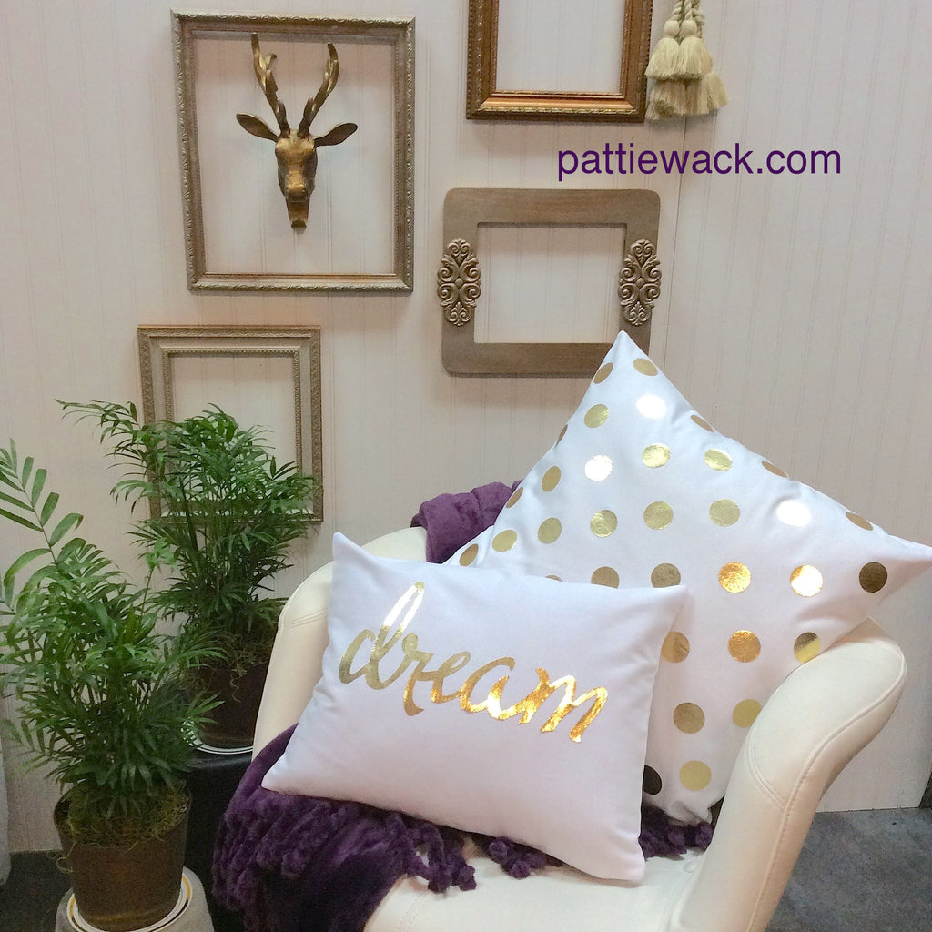 """Dream"" in Gold Polka Dots - DIY Pillows"