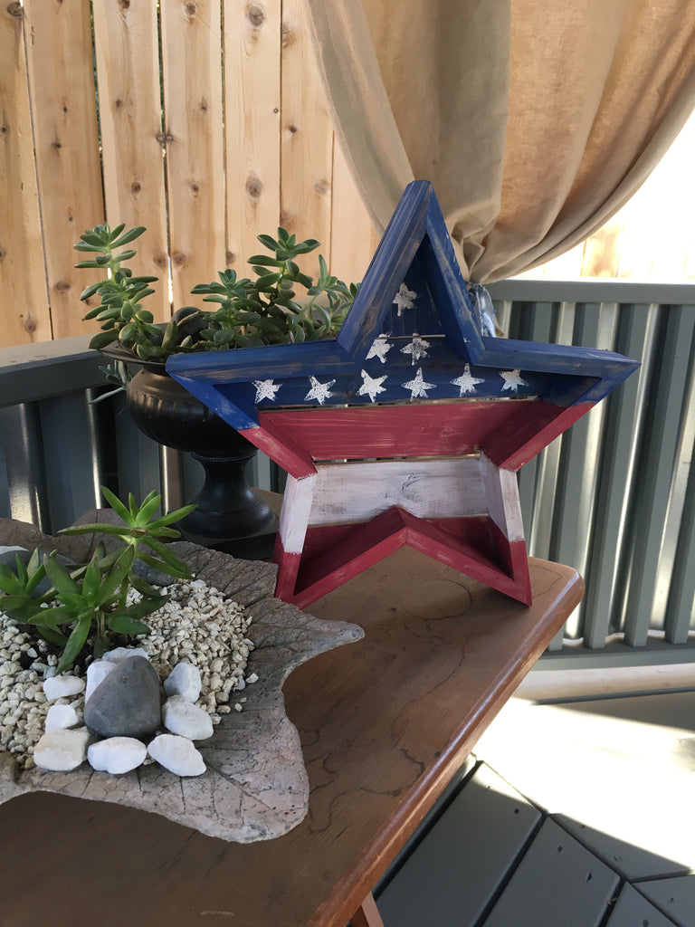 Patriotic Yard Sign - Barnwood Stars & Stripes