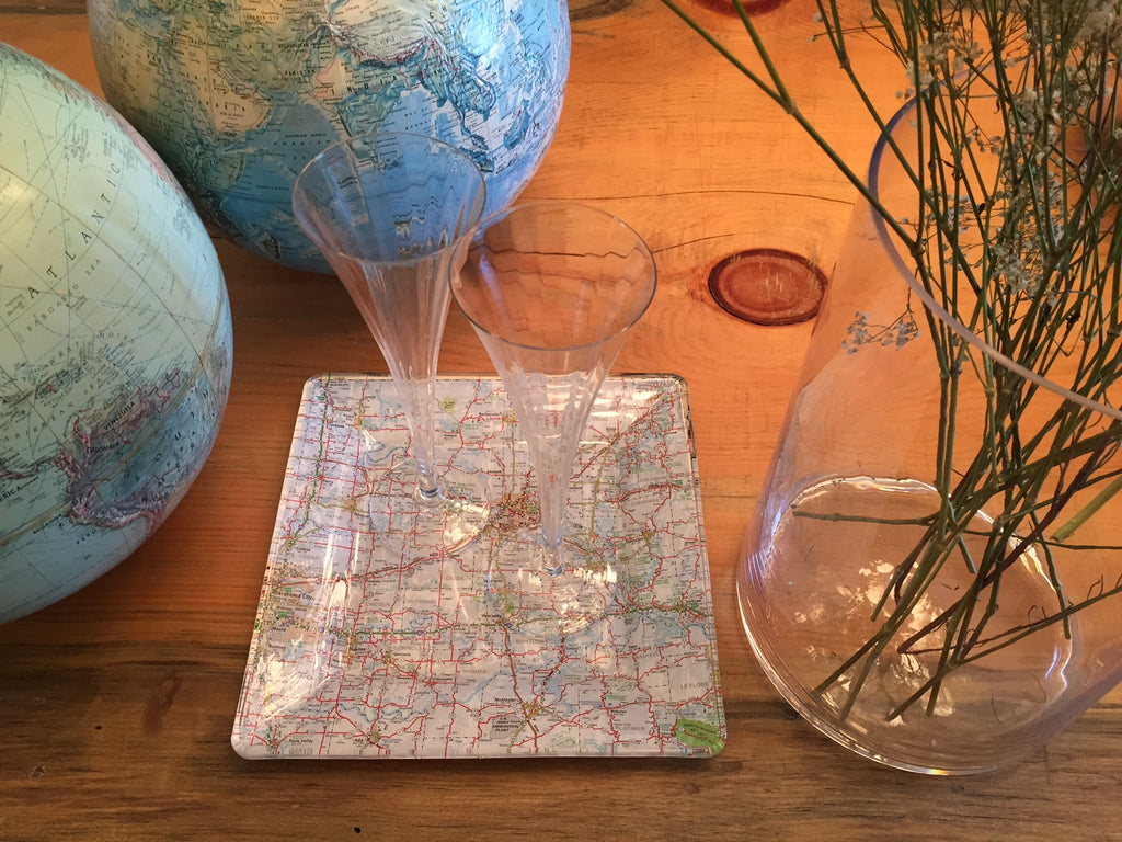 Decoupage Glass Platter - Summer Road Trip