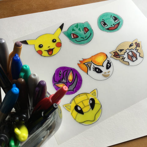 Pokemon DIY Shrink Plastic Bracelet Step 1 - Trace
