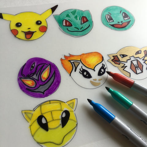 Pokemon DIY Shrink Plastic Bracelet - Step 2 Color