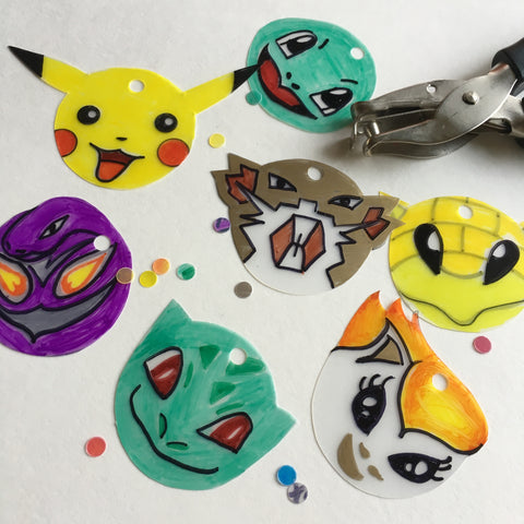 Pokemon DIY Shrink Plastic Bracelet - Step 4 Punch Holes