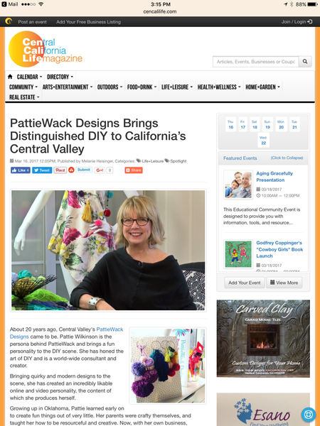 Central California Life Magazine - PattieWack Designs interview