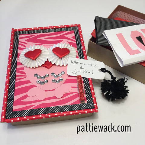 Valentine's Day Box - Owl and pompom