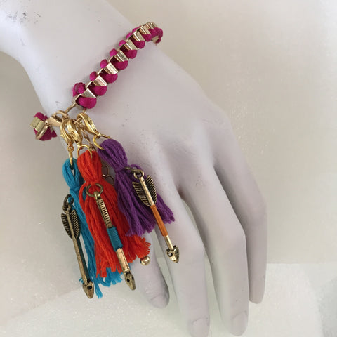attach tassels to bracelet with lobster claws
