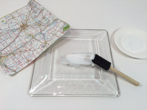 DIY decoupage glass platter