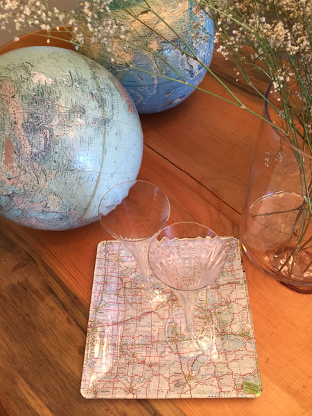 diy glass platter with map