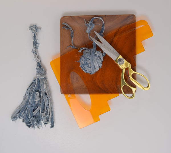 recycled denim tassel