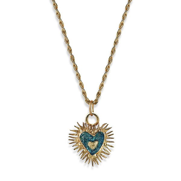 Tortured Heart Pendant- Blue