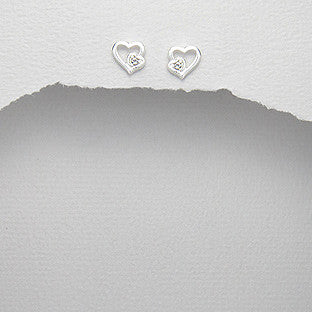 Sterling Silver Heart Outline Earrings - Haggled Jewellery - 1