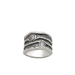 Wide Band Etched Silver CZ Ring - Haggled Jewellery - 2