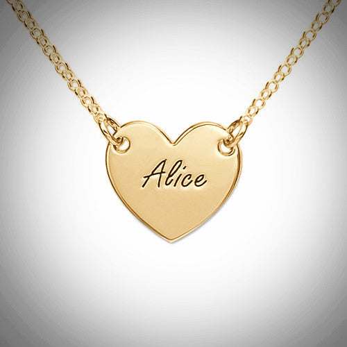 18K Gold Vermeil Engraved Heart Necklace