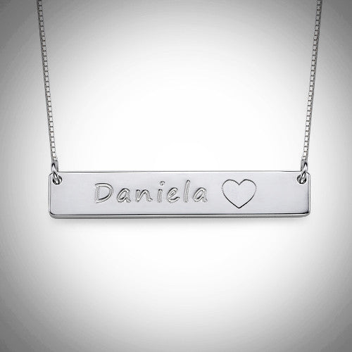 Sterling Silver Bar Necklace with Symbol