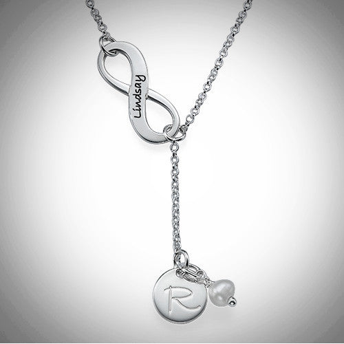 Silver Infinity Y Shaped Necklace & Initial