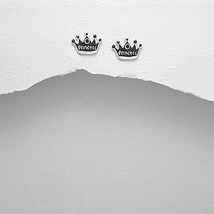 Silver Princess Crown Earrings - Haggled Jewellery