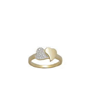 14K Gold Vermeil CZ Heart Ring - Haggled Jewellery