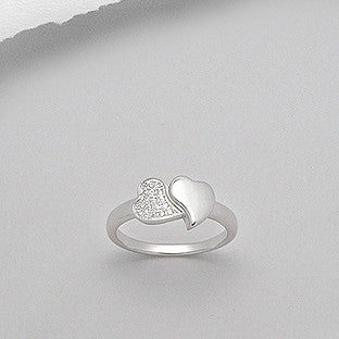 Sterling Silver Twin Heart CZ Ring - Haggled Jewellery
