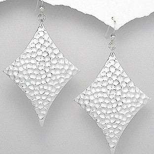 Sterling Silver Hammered Dangle Earrings - Haggled Jewellery - 1