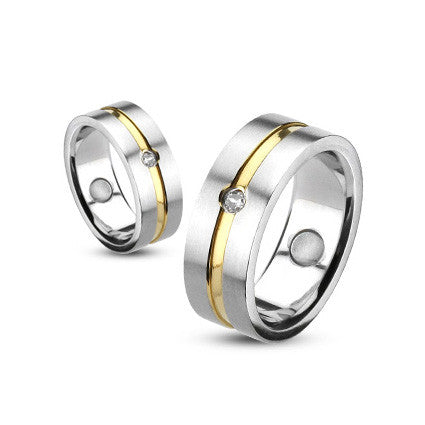 316L Stainless Brushed Steel Gold CZ Ring - Haggled Jewellery
