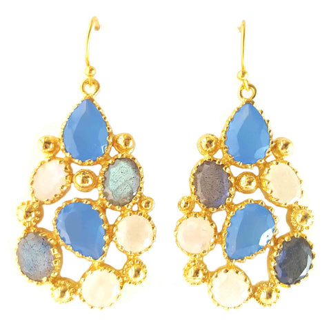 14K Gold Plated Gemstone Glory Dangle Earrings