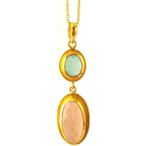 18K Gold Plated Pastel Gems Necklace