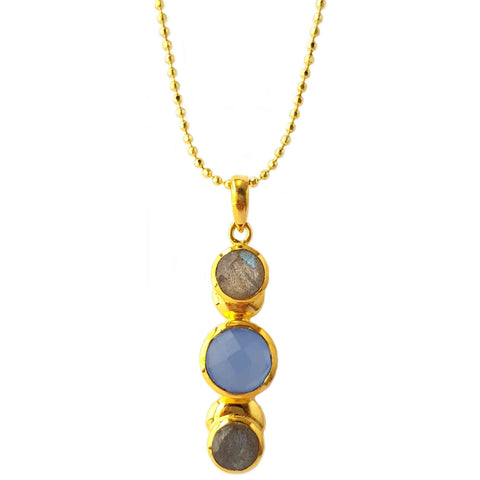18K Gold Plated Trio Gems Necklace