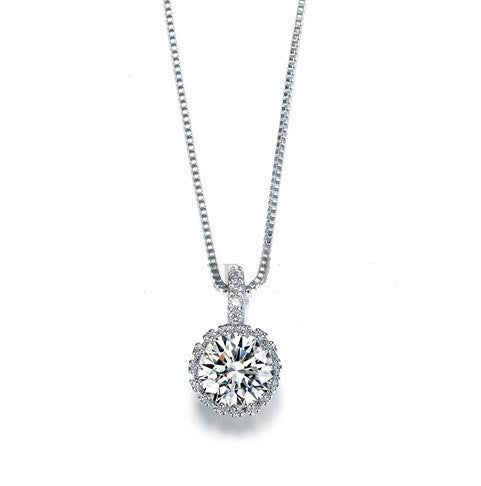 2ct Multi Prong CZ Hearts & Arrow Necklace - Haggled Jewellery - 1