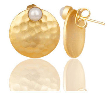 14K Gold Vermeil Textured Pearl 2-way Earrings