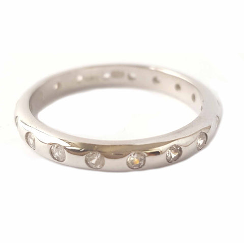 3mm Sterling Silver CZ Eternity Band
