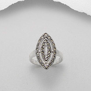 Classic Marcasite Sterling Silver Ring - Haggled Jewellery - 1