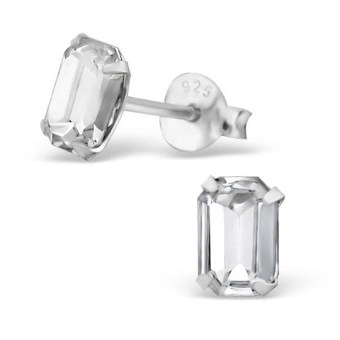 Crystal Baguette Silver Studs